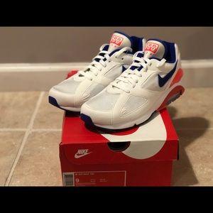 Nike Air Max 180 White Blue Orange Running Shoes